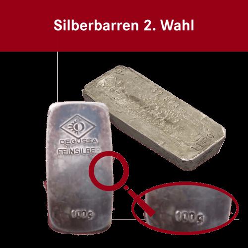 100 g Silberbarren (2. Wahl)