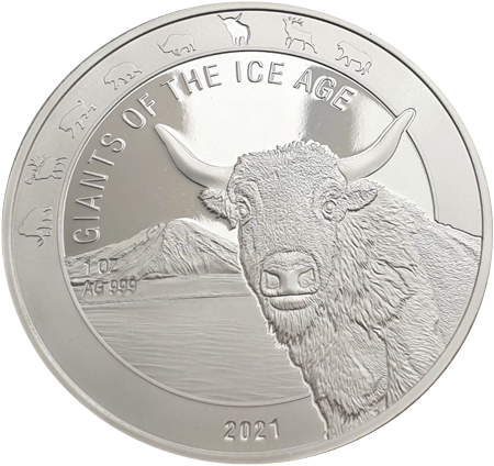1 Unze Silber Giganten der Eiszeit - Auerochse 2021