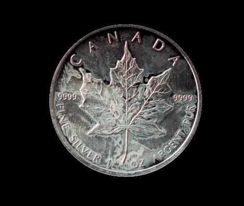 1 Unze Silber Maple Leaf angelaufen