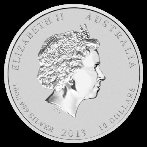 Rückseite Silbermünze 10 Unzen Australien Lunar 2013 | Rückseite 10 Unzen Silbermünze Australien Lunar 2013 Drache von The Perth Mint Australia