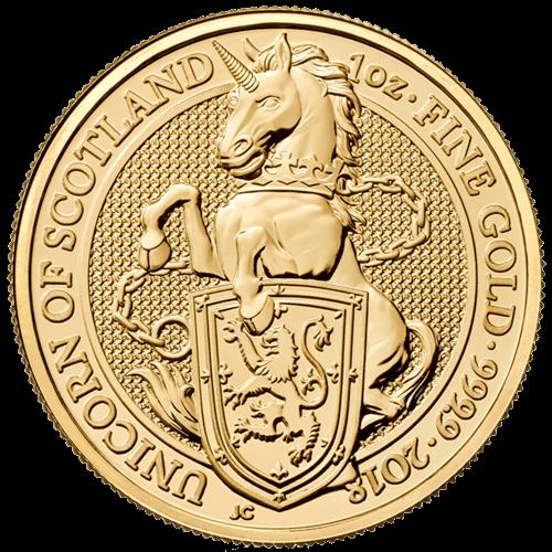 1 Unze Gold The Queen´s Beasts - Unicorn of Scotland 2018