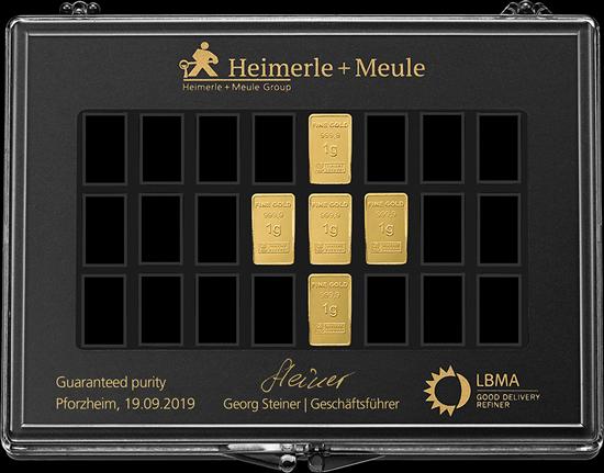5 x 1 g Gold UnityBar Collection Heimerle und Meule