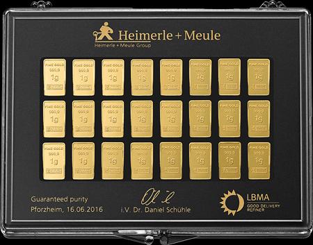 50 x 1 g Gold UnityBar Collection Heimerle und Meule