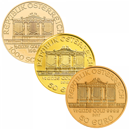 1/2 Unze Gold Wiener Philharmoniker | Silbermünze 1/2 Unze Wiener Philharmoniker von Münze Österreich